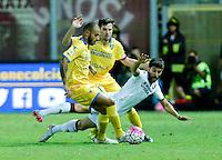 Danilo oddimo, Robert Gucher e Marco Benassi durante l'incontro di calcio di Serie A   Frosinone - Torino  allo  Stadio Matusa di   di Frosinone ,23 Agosto 2015