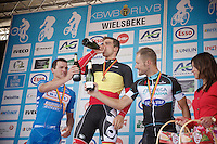nationals podium: <br /> - gold/ Jens Debusschere (BEL/Lotto-Belisol), <br /> - silver/ Roy Jans (BEL/Wanty-Groupe Gobert) &amp; <br /> - bronze/ Tom Boonen (BEL/OmegaPharma-Quickstep)<br /> <br /> Belgian Championships 2014 - Wielsbeke<br /> Elite Men