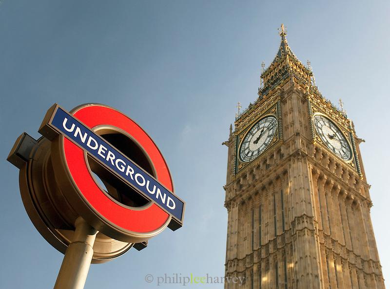 Big Ben and the iconic London Underground sign, London, UK