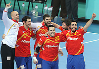 25.01.2013 Barcelona, Spain. IHF men's world championship, Semi-final. Picture show spanihs team after win game between Spain vs Slovenia at Palau St. Jordi