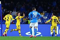 25th February 2020; Stadio San Paolo, Naples, Campania, Italy; UEFA Champions League Football, Napoli versus Barcelona; Antoine Griezmann of Barcelona  celebrates after scoring on 49 minutes for 1-1 with Messi