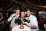 Celebrity Golf @ Golf Live.Team Ireland players Brian Ormond, Keith Duffy & Brian Mcfadden with the Ryder Cup..Celtic Manor Resort.10.05.13.©Steve Pope