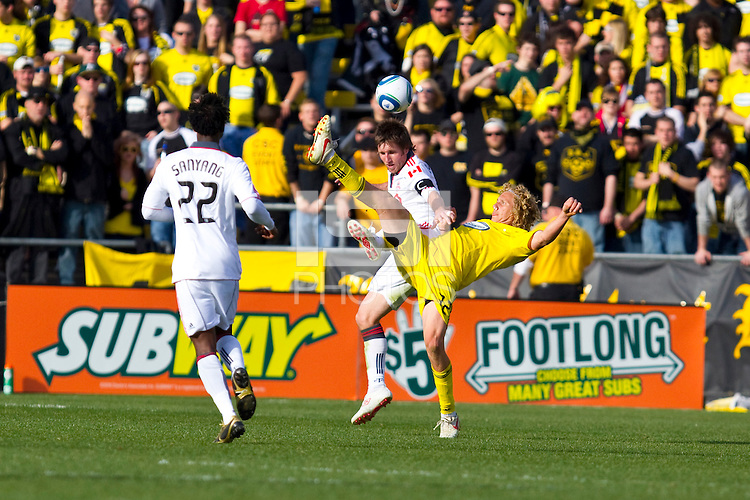 27 MARCH 2010:  Steven Lenhart and Jim Brennan of Toronto FC (11) during the Toronto FC at Columbus Crew MLS game in Columbus, Ohio on March 27, 2010. Crew defeated Toronto FC 2-0.