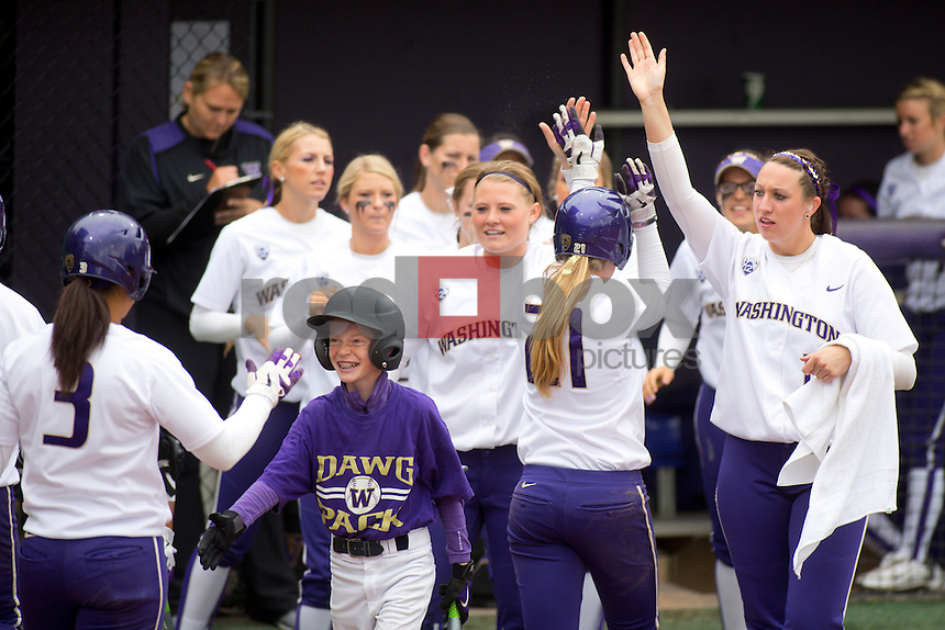 The University of Washington women's softball team honored the seniors following their final home game of the regular season against Arizona State University on Sunday April 29, 2012.(Photo by Scott Eklund /Red Box Pictures)