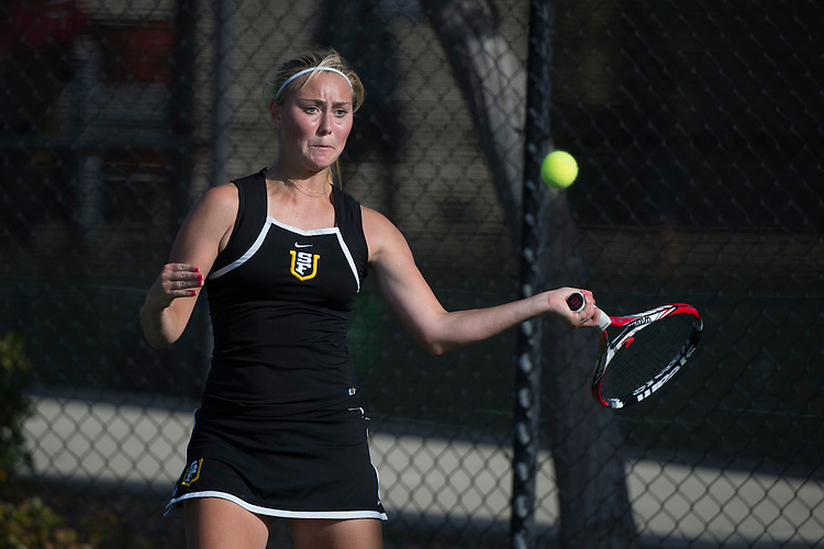 April 23, 2014; San Diego, CA, USA; San Francisco Dons player Sofia Holmberg during the WCC Tennis Championships at Barnes Tennis Center.