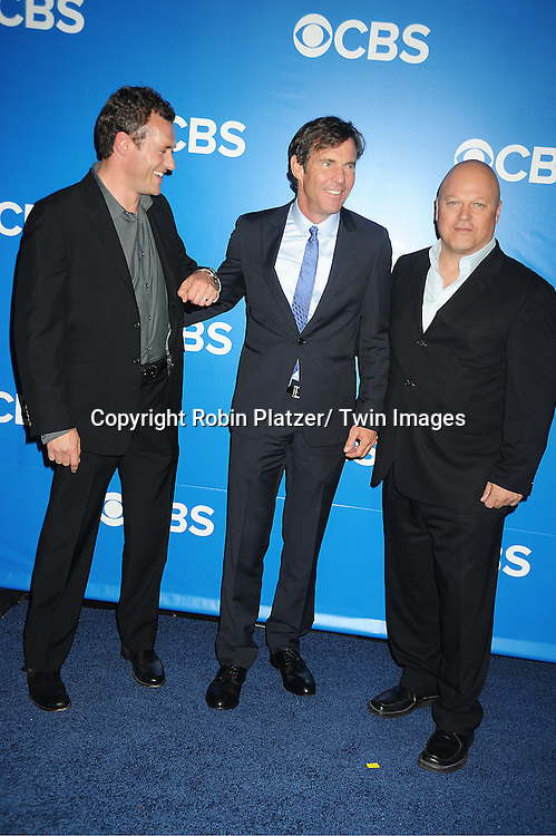"Jason O'Mara, Dennis Quaid and Michael Chiklis of ""Vegas""attend the CBS Upfront 2012 at The Tent at Lincoln Center in New York City on May 16, 2012."