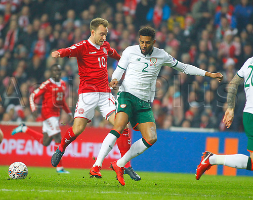11th November 2017, Telia Parken, Copenhagen, Denmark; FIFA World Cup Qualification, European playoff, 1st leg; Denmark versus Republic of Ireland; Cyrus Christie (Republic of Ireland) blocks Christian Eriksen's advances