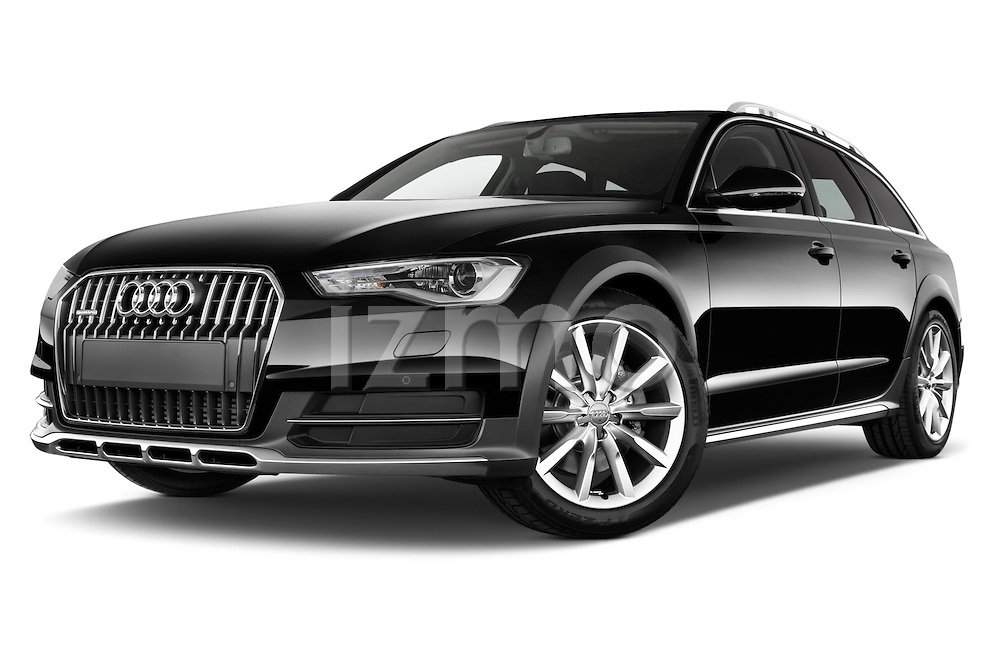 Stock pictures of a low aggressive front three quarter view of 2015 Audi A6 Allroad Quattro - 5 Door Wagon Low Aggressive