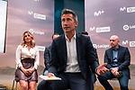 Danae Boronat, Julio Maldonado, Carlos Martinez, during the presentation of the strategic alliance between Movistar and Laliga<br /> October 4, 2019. <br /> (ALTERPHOTOS/David Jar)