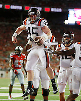 Virginia Tech Hokies fullback Sam Rogers (45) celabrates  a touchdown against Ohio State Buckeyes second quarter at OhioStadium September 6, 2014. (Dispatch photo by Eric Albrecht)