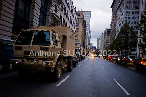 New York, New York.November 2, 2012..Military trucks and vehicles line Park Avenue in mid-town nearly a week after Hurricane Sandy hit the north-eastern US coast...Most of lower Manhattan was without electricity and the complete and prolonged darkness spread fear. .
