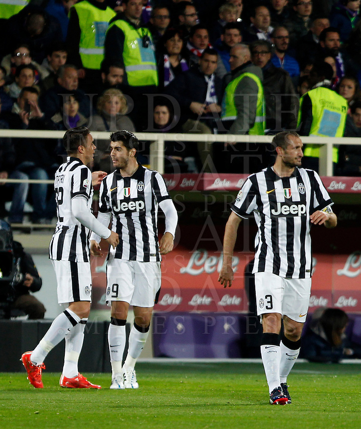 Calcio, Coppa Italia: semifinale di ritorno Fiorentina vs Juventus. Firenze, stadio Artemio Franchi, 7 aprile 2015. <br /> Juventus' Alessandro Matri, left, celebrates with teammates Alvaro Morata, center, and Giorgio Chiellini, after scoring during the Italian Cup semifinal second leg football match between Fiorentina and Juventus at Florence's Artemio Franchi stadium, 7 April 2015.<br /> UPDATE IMAGES PRESS/Isabella Bonotto