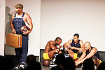 Layon Gray - Lamar Cheston - Jeantique Oriol - Delano Barbosa - Layon Gray's Kings of Harlem - a story about the Harlem Rens who were one of the dominant basketball teams of the 1920's and 1930's - had a special show on September 15, 2015 at St. Luke's Theatre, New York City, New York. The play stars Melvin Huffnagle, Thaddeus Daniels, Ade Otukoya, Lamar Cheston, Delano Barbosa, Jeantique Oriol and Layon Gray.  (Photo by Sue Coflin/Max Photos)