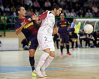 Caja Segovia's David Ruiz (r) and FC Barcelona Alusport's Saad Assis during Spanish National Futsal League match.November 24,2012. (ALTERPHOTOS/Acero) /NortePhoto
