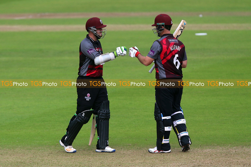 Steven Davies (L) and Jim Allenby of Somerset during Somerset vs Essex Eagles, Royal London One-Day Cup Cricket at The Cooper Associates County Ground on 14th May 2017