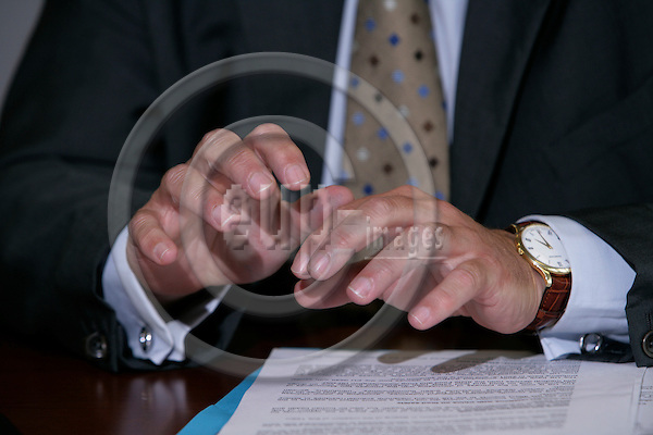 BRUSSELS - BELGIUM - 28 AUGUST 2007 -- The hands of Markos KYPRIANOU, EU Commissioner for Health and Comsumer Protection.  Photo: Erik Luntang/EUP-IMAGES