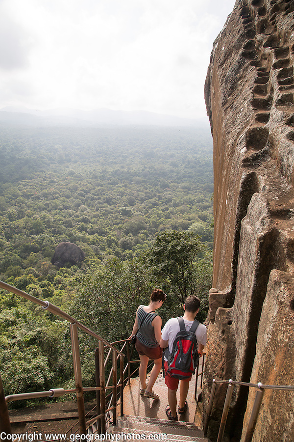 Metal staircase descending from rock palace fortress, Sigiriya, Central Province, Sri Lanka, Asia