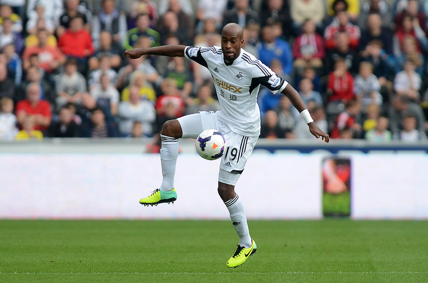 Swansea City's Dwight Tiiendalli in action during todays match  <br /> <br /> Photo by Ian Cook/CameraSport<br /> <br /> Football - Barclays Premiership - Swansea City v Arsenal - Saturday 28th September 2013 - The Liberty stadium - Swansea<br /> <br /> &copy; CameraSport - 43 Linden Ave. Countesthorpe. Leicester. England. LE8 5PG - Tel: +44 (0) 116 277 4147 - admin@camerasport.com - www.camerasport.com