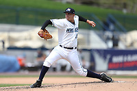 West Michigan Michigan Whitecaps pitcher Eudis Idrogo (26) delivers a pitch to the plate against the Fort Wayne TinCaps during the Midwest League baseball game on April 26, 2017 at Fifth Third Ballpark in Comstock Park, Michigan. West Michigan defeated Fort Wayne 8-2. (Andrew Woolley/Four Seam Images via AP Images)