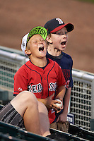 Fort Myers Miracle fans scream for a promotion in between innings during a game against the Brevard County Manatees on April 13, 2016 at Hammond Stadium in Fort Myers, Florida.  Fort Myers defeated Brevard County 3-0.  (Mike Janes/Four Seam Images)