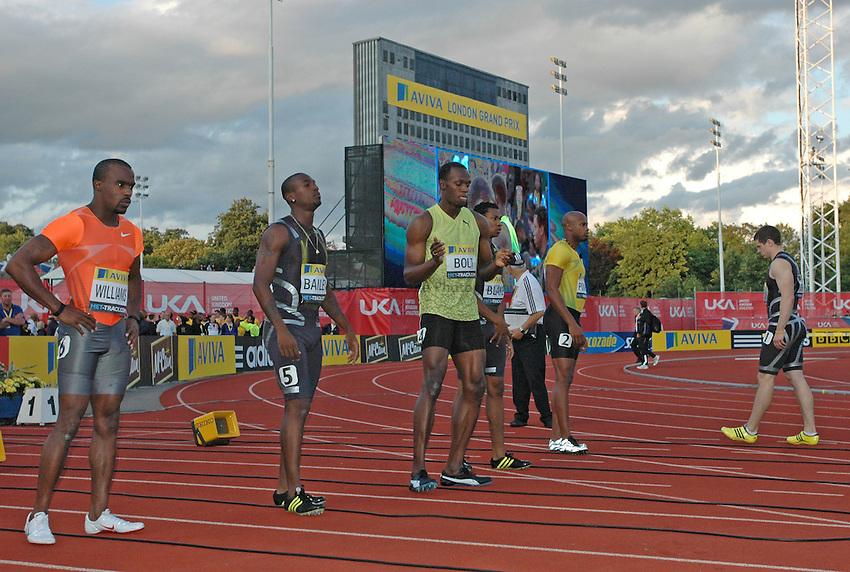 Photo: Tony Oudot/Richard Lane Photography..Aviva London Grand Prix. 24/07/2009. .Usain Bolt of Jamaica dances before winning the Men's 100m.