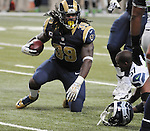 Football - NFL- Seattle Seahawks at St. Louis Rams.St. Louis Rams running back Steven Jackson (39) gets up from the turf after being tackled on a carry late in the fourth quarter at the Edward Jones Dome in St. Louis.  The Rams defeated the Seahawks, 19-13.
