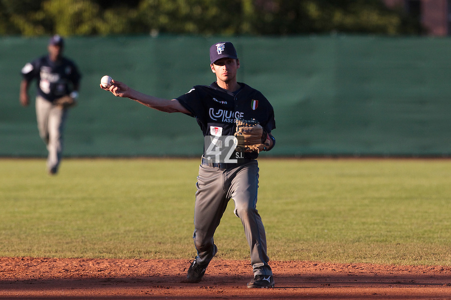 05 June 2010: Livinston Santanielo of Bologna throws the ball to first base during the 2010 Baseball European Cup match won 10-0 by Fortitudo Bologna over the Rouen Huskies, at the AVG Arena, in Brno, Czech Republic.