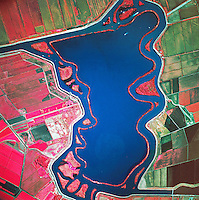 infrared aerial view above submerged Mildred Island levees Sacramento San Joaquin river delta California