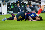 Lionel Messi of FC Barcelona lies injured during the La Liga 2018-19 match between FC Barcelona and Sevilla FC at Camp Nou Stadium on October 20 2018 in Barcelona, Spain. Photo by Vicens Gimenez / Power Sport Images