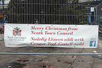 "Pictured: The Christmas tree in Neath, south Wales, UK. Saturday 03 December 2016<br /> Re: Residents are making their own decorations for Neath's Christmas tree this year after complaints about the town's festive decorations.<br /> Neath resident Darren Bromham-Nichols is calling on others to create their own decorations for the tree near the town centre, which has been described as ""bare with lots of dead wood."", although the town council has said it has received no complaints.<br /> He hopes this will make Neath Town Council, who have funded the Christmas decorations for the town, take notice and help to decorate the tree."