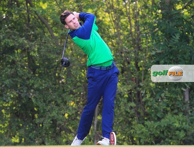 Alex Gleeson (Ireland) on the 7th tee during the Foursomes of the Home Internationals at Moortown Golf Club, Leeds, England. 16/08/2017<br /> Picture: Golffile   Thos Caffrey<br /> <br /> All photo usage must carry mandatory copyright credit     (&copy; Golffile   Thos Caffrey)