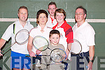 BADMINTON: Playing in the County Singles Badminton Championship Div 1, 3 and 5 at Tralee Regional Sports & Leisure Centre on Sunday. Front Shane O'Neill (Tralee). Back l-r: Donnacha Galvin, Eileen O'Connor (Killarney), Alan Griffin, Mary Bradley (Castleisland) and Brendan Cassidy (Killarney)..