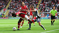 Lincoln City's Harry Toffolo vies for possession with Rotherham United's Matthew Olosunde<br /> <br /> Photographer Chris Vaughan/CameraSport<br /> <br /> The EFL Sky Bet Championship - Rotherham United v Lincoln City - Saturday 10th August 2019 - New York Stadium - Rotherham<br /> <br /> World Copyright © 2019 CameraSport. All rights reserved. 43 Linden Ave. Countesthorpe. Leicester. England. LE8 5PG - Tel: +44 (0) 116 277 4147 - admin@camerasport.com - www.camerasport.com