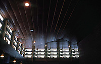 F.L. Wright: Kundert Medical Bldg., San Luis Obispo, 1956. Ceiling detail.  Photo '86.