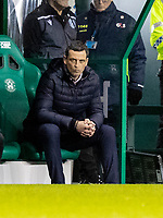 28th January 2020; Easter Road, Edinburgh, Scotland; Scottish Cup replay, Football, Hibernian versus Dundee United; Jack Ross Hibernian Manager looks out from the dugout