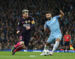 Lionel Messi of Barcelona and Sergio Aguero of Manchester City during the Champions League Group C match at the Etihad Stadium, Manchester. Picture date: November 1st, 2016. Pic Simon Bellis/Sportimage