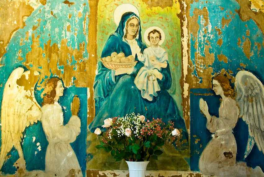 A mural in the chapel of the former penal colony on Royale Island, French Guiana.