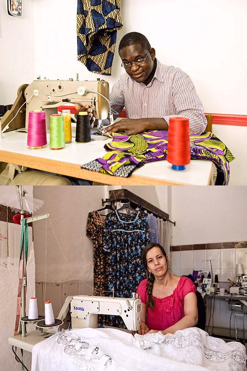 CUCIRE CON GLI OCCHI<br /> Malick Niang, sarto<br /> Nabila Ighil, sarta<br /> <br /> Dal basso in su<br /> lo sguardo ti sguarda<br /> ti prende le misure<br /> le annota nella mente.<br /> I rocchetti di filo -cilindri di colore-<br /> la macchina da cucire<br /> toccata con rispetto.<br /> L'Africa a Torino è questa qui<br /> nelle stoffe, nei punti infilati<br /> dentro lo sguardo del sarto<br /> da sotto in su.<br /> <br /> La treccia stretta,<br /> il rosso vivo <br /> dello sguardo<br /> come un ago<br /> bello e dritto,<br /> senza nessuna paura.