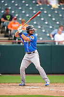 Akron RubberDucks designated hitter Jeremy Lucas (12) at bat during the first game of a doubleheader against the Bowie Baysox on June 5, 2016 at Prince George's Stadium in Bowie, Maryland.  Bowie defeated Akron 6-0.  (Mike Janes/Four Seam Images)
