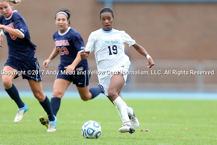 28 October 2012: UNC's Crystal Dunn (19). The University of North Carolina Tar Heels played the University of Virginia Cavaliers at Fetzer Field in Chapel Hill, North Carolina in a 2012 NCAA Division I Women's Soccer game. Virginia defeated UNC 1-0 in their Atlantic Coast Conference quarterfinal match.