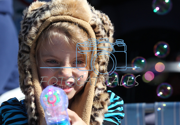 Claire Williams, 6, plays with bubbles at the annual Nevada Day Parade in Carson City, Nev., on Saturday, Oct. 28, 2011..Photo by Cathleen Allison