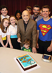 Charles Strouse with grandson, Performers and company celebrating his 90th Birthday during the Children's Theatre of Cincinnati presentation for composer Charles Strouse of 'Superman The Musical' at Ripley Grier Studios on June 8, 2018 in New York City.