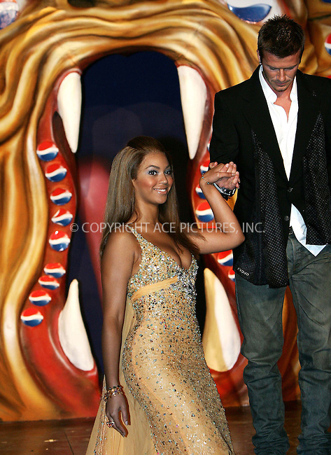 WWW.ACEPIXS.COM . . . . .  ... . . . . US SALES ONLY . . . . .....MADRID, FEBRUARY 23, 2005....Beyonce Knowles and David Beckham in Madrid to launch the Pepsi Spot campaign which took place at the Circulo De Bellas Artes.....Please byline: FAMOUS-ACE PICTURES-D. SOUTO... . . . .  ....Ace Pictures, Inc:  ..Philip Vaughan (646) 769-0430..e-mail: info@acepixs.com..web: http://www.acepixs.com
