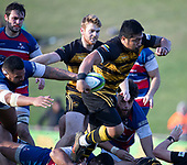 Ki Anufe steps through the Ardmore Marist defenders on his way to scoring  the match sealing try for Bombay.  Counties Manukau Premier 1 McNamara Cup Final between Ardmore Marist and Bombay, played at Navigation Homes Stadium on Saturday July 20th 2019.<br />  Bombay won the McNamara Cup for the 5th time in 6 years, 33 - 18 after leading 14 - 10 at halftime.<br /> Photo by Richard Spranger.