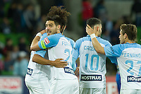 Melbourne, 10 November 2016 - BRUNO FORNAROLI (23) of Melbourne City celebrates his second goal in the round 6 match of the A-League between Melbourne City and Newcastle Jets at AAMI Park, Melbourne, Australia. Melbourne won 2-1 (Photo Sydney Low / sydlow.com)