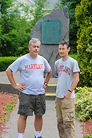 HAZLETON, PA - JUNE 30:  Dr. Paul Shackel (L) and Mike Roller (R) speaks at the site of an archaeologic dig June 30, 2014 in Hazleton, Pennsylvania. The team is looking through sites connected with the Lattimer Massacre which occurred in 1897. (Photo by William Thomas Cain/Cain Images)