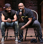 "Terrance Spencer and James Monroe Iglehart during the Q & A before The Rockefeller Foundation and The Gilder Lehrman Institute of American History sponsored High School student #eduHAM matinee performance of ""Hamilton"" at the Richard Rodgers Theatre on June 5, 2019 in New York City."