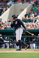 Detroit Tigers first baseman Miguel Cabrera (24) follows through on a swing during a Grapefruit League Spring Training game against the New York Yankees on February 27, 2019 at Publix Field at Joker Marchant Stadium in Lakeland, Florida.  Yankees defeated the Tigers 10-4 as the game was called after the sixth inning due to rain.  (Mike Janes/Four Seam Images)