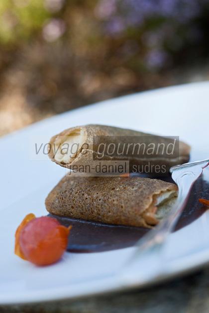 Europe/France/Bretagne/56/Morbihan/ Noyalo: Nem bretons au   cuisses de grenouille et petits gris recette de Philippe Bonne du Restaurant L'Hortensia
