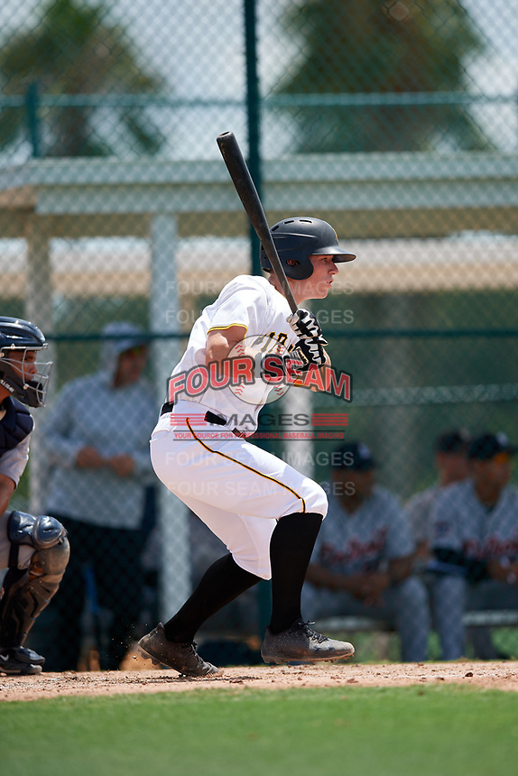 GCL Pirates third baseman Patrick Dorrian (50) hits a single during a game against the GCL Tigers West on August 13, 2018 at Pirate City Complex in Bradenton, Florida.  GCL Tigers West defeated GCL Pirates 5-1.  (Mike Janes/Four Seam Images)